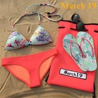 March 19 Sexy Neoprene Bikini Set 2017 New Style Women Summer Print Bathing Suits Ruffle Biquini