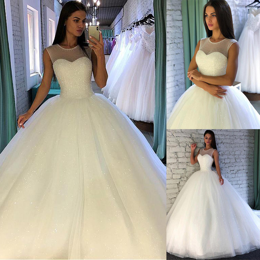 Shining Sequin Tulle Jewel Neckline Ball Gown Wedding Dress With Beadings Sleevelss Bridal Gowns Vestido De Festa Longo