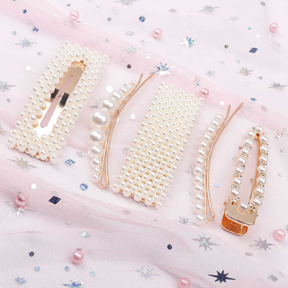 Oaoleer Full pearls Hair Clips for Women Fashion Sweet Imitation Korean Style Hairpins Alloy BB Hairgrip Girls Hair Accessories