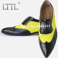 Лакированная кожа туфли оксфорды для мужчин смешанного цвета Мужские модельные туфли с острыми носками на шнуровке официальная обувь Для м