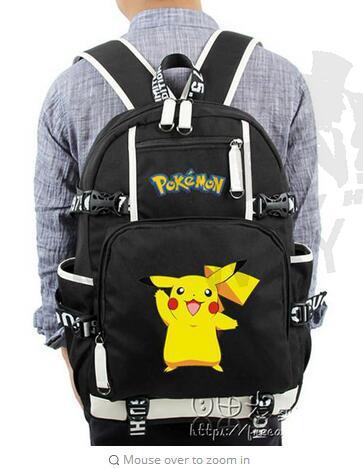 New Fashion Women Men School Bags Teenager Girls Boys Mochila Anime Luminous Printing Backpack Pokemon Gengar Cosplay Backpacks
