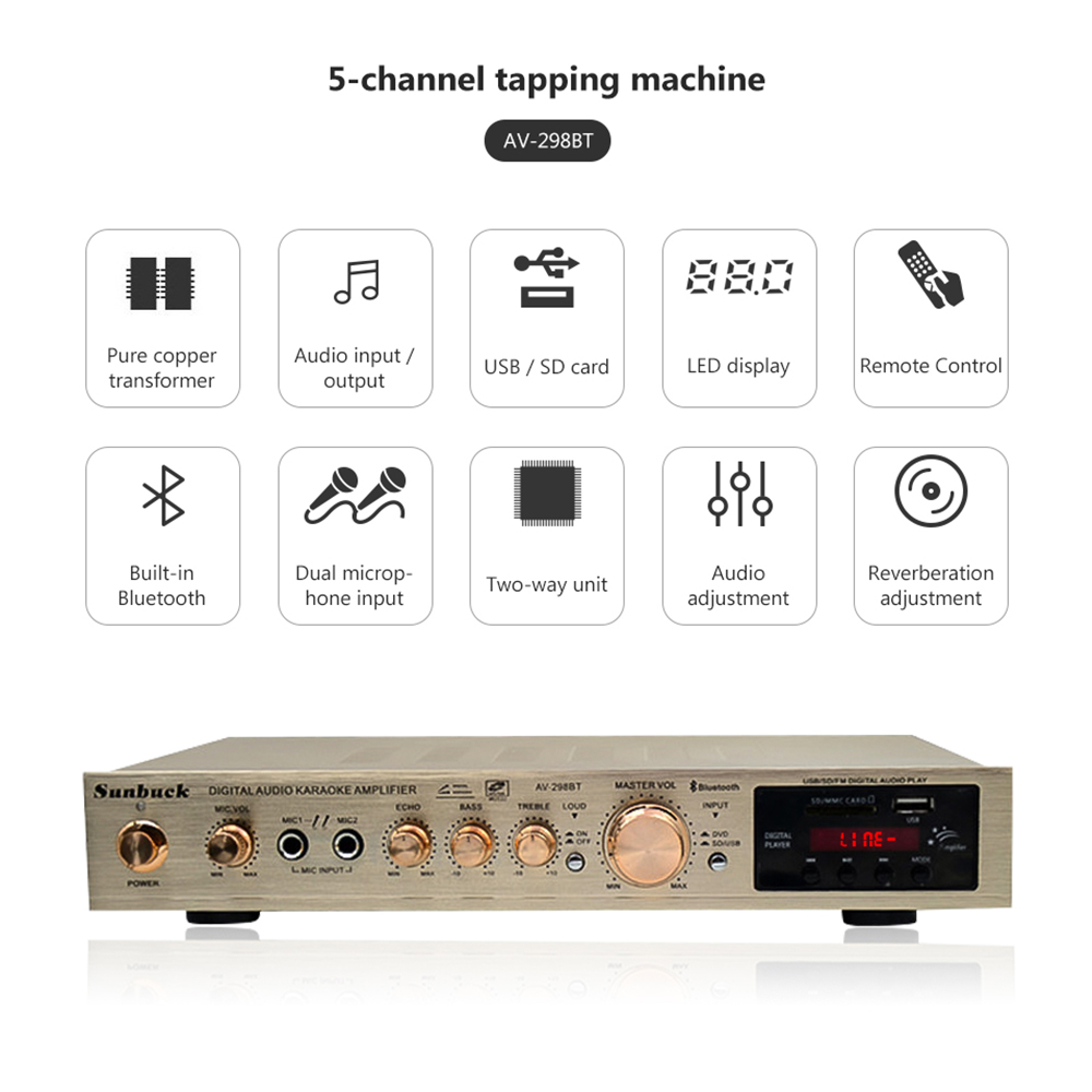5 Channel Amplificador Bluetooth AV Amplifier Stereo Karaoke Stage Hifi Power Home Theater Audio Amplifiers Dual