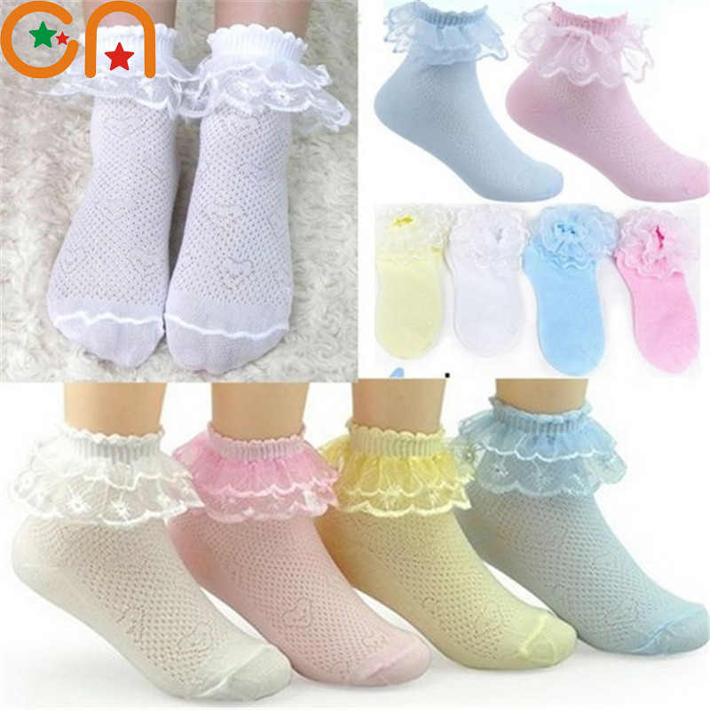 4 Pairs/lot Girls Socks Students Children fashion Lace Frilly Mesh Socks Summer 3-12 yrs high quality Solid Wild kids Socks CN