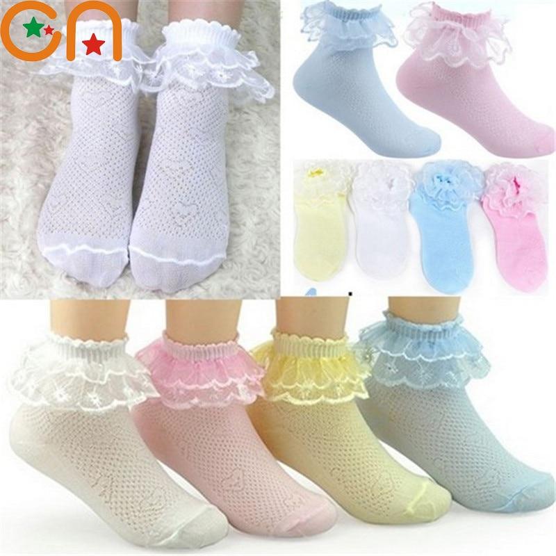 4 pares / lote Calcetines para niñas Estudiantes Moda infantil Encaje con volantes Calcetines de malla Verano 3-12 años Calcetines sólidos para niños de alta calidad CN