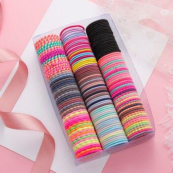 50 pièces/ensemble filles coloré spirale élastique bande de cheveux enfants mignon élastique pour queue de cheval bande de caoutchouc bandeau chouchous accessoires de cheveux