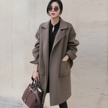 2016 Winter Women Coat Turn-Down Collar Pockets Elegant Womens Wool Coat Fashion Loose Cappotto Donna Arrivals Women Coat S23311