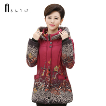 Women's winter jacket Plus Size Long Sleeve Padded Coats With Hooded Parka Printing Loose Casaco Women's Park J297