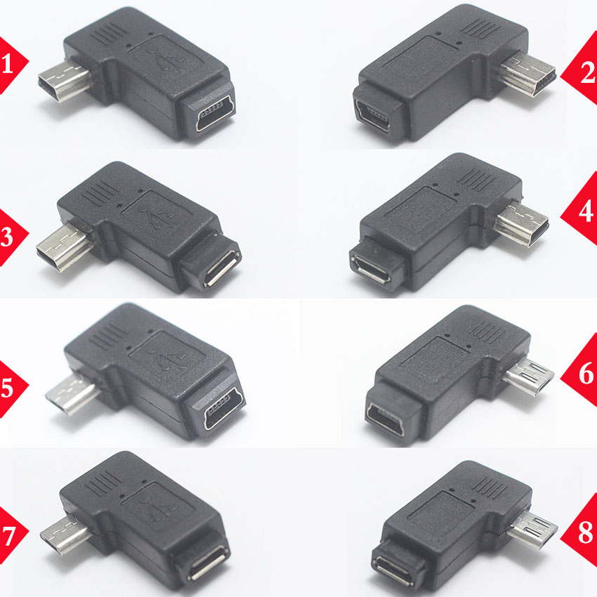 1pcs 90 Degree Left & Right Angled Mini USB 5pin Female To Micro USB Male Data Sync Adapter Plug Micro USB To Mini USB Connector