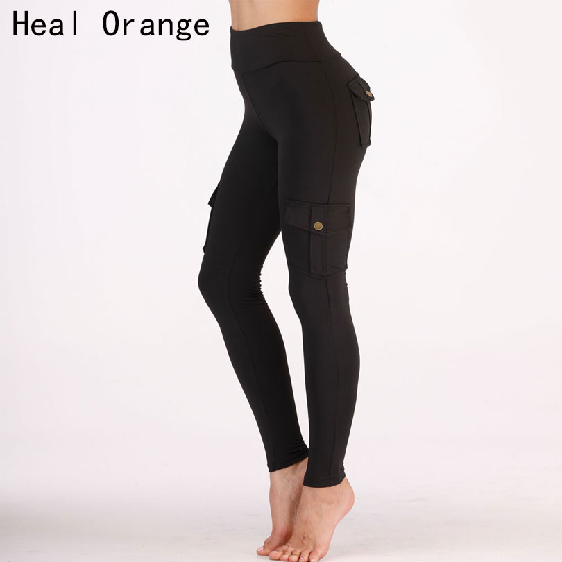 High Waist Running Pants Women Elastic Tightness Military Style Multi-Pocket Jogging Leggings Training Pants Gym Sweatpants Lady