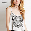 ORMELL 2016 New Arrival Mulheres Branco Totem Imprimir Spaghetti Strap Cruz Voltar Casual Sexy Top Camisole Moda Streetstyle