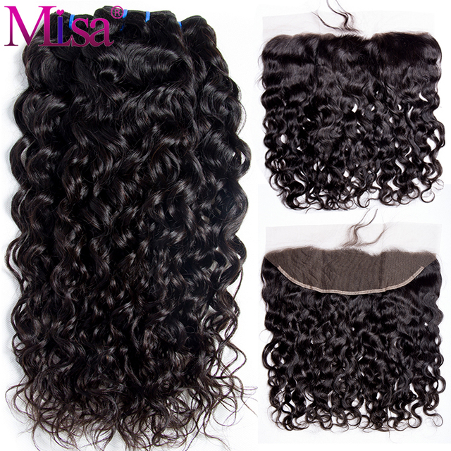 Mi Lisa Hair Brazilian Water Wave 3 Bundles With Lace Frontal Closure Non Remy Human Hair Weave 13x 4 Lace Frontal With Bundle