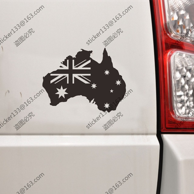 Flag and map of australia australian outline car decal sticker vinyl choose your size and
