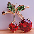 Luxury Weddings Red Cherry Jewelry Gold Plated Crystals Accessories Brooches Corsage Hats Scarf Clips Hijab Pins For Women Kids