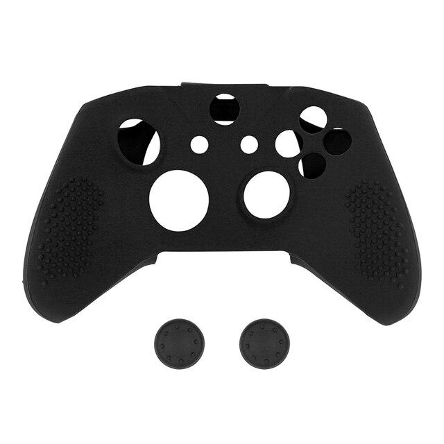 Suave antideslizante de silicona cubierta de pieles pulgar puños tapas de protección caso para Xbox uno X para una S controlador de Red negro