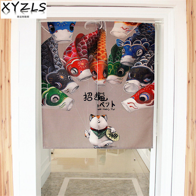 Xyzls Anese And Korean Lucky Cat Kitchen Curtain Cotton Linen Door Coffee Restaurant