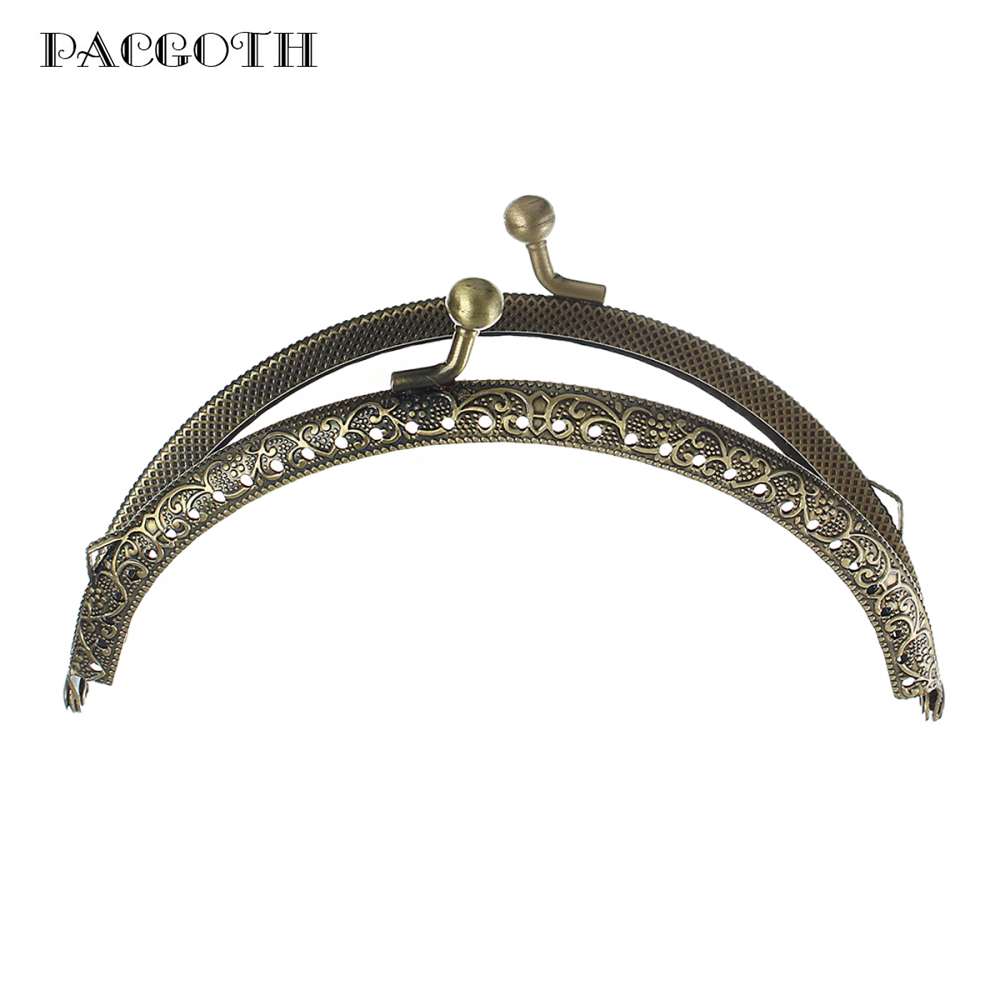 PACGOTH Iron Based Alloy Kiss Clasp Lock Purse Frame Arch Antique Bronze Dot 12.6x7.7cm(5