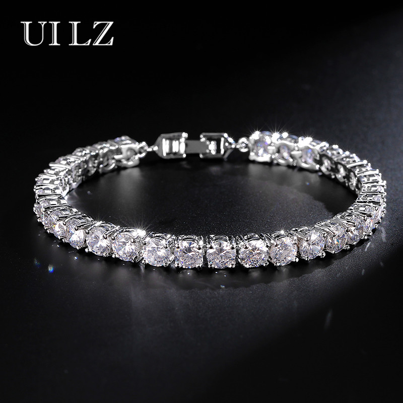 UILZ Zircon Rome Bride Wedding Bracelet & Bangles Hip hop Jewelry Cut 5.0 mm CZ Tennis Bracelet For Women/Men Party JMBP051