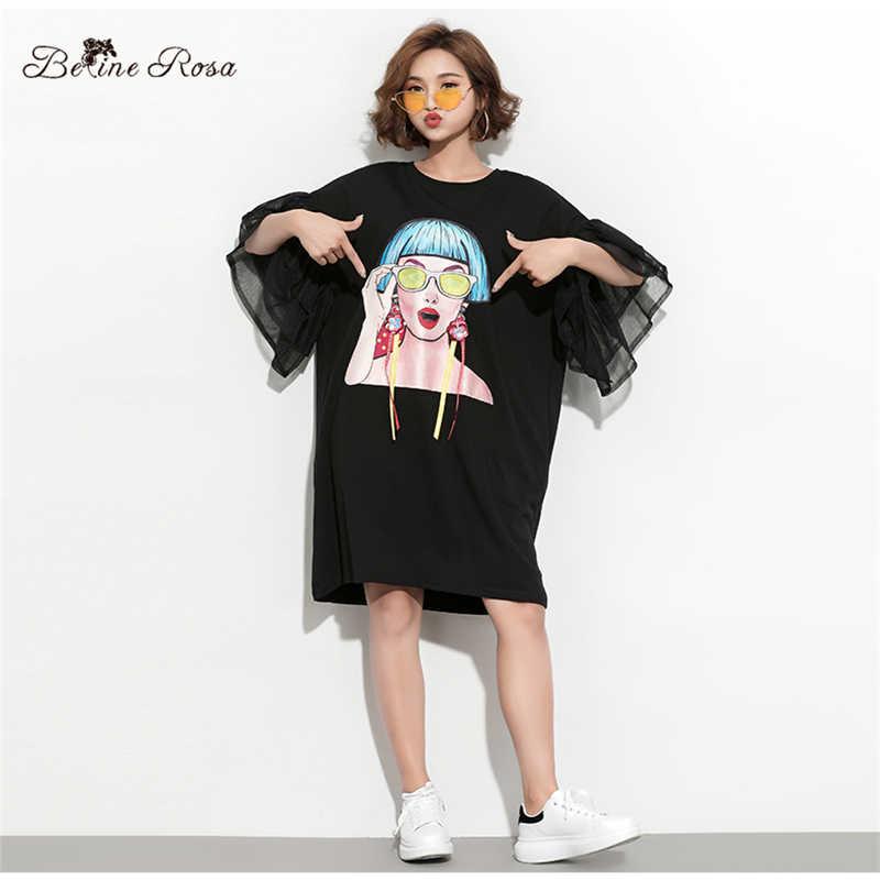 Женские футболки платья BelineRosa , в европейском стиле,большие размеры, HS000612 ,  лето 2019