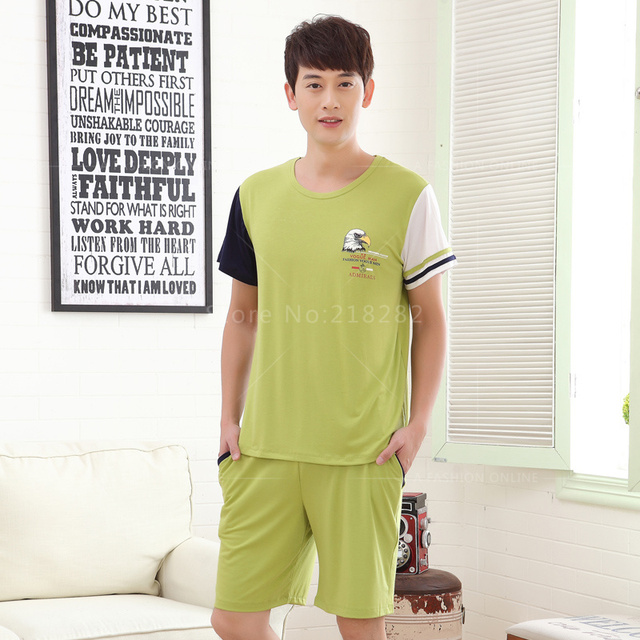 Brand New Summer Men's Modal Pajamas Sets Men Sleepwear Male Pajamas Sleep&Lounge Homewear Fashion Casual Sportswear Set