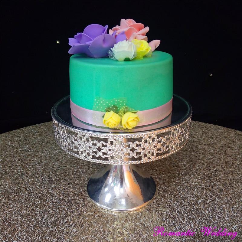 Support de gâteau en métal de mariage romantique fissures de gâteau de Surface de miroir argenté pour l'utilisation d'événement de noce