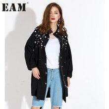 [EAM] 2017 Осень Длинные рукава новые модные обрушенное Стенд Черный Большие размеры свободные куртки женские модные тенденции KS2181