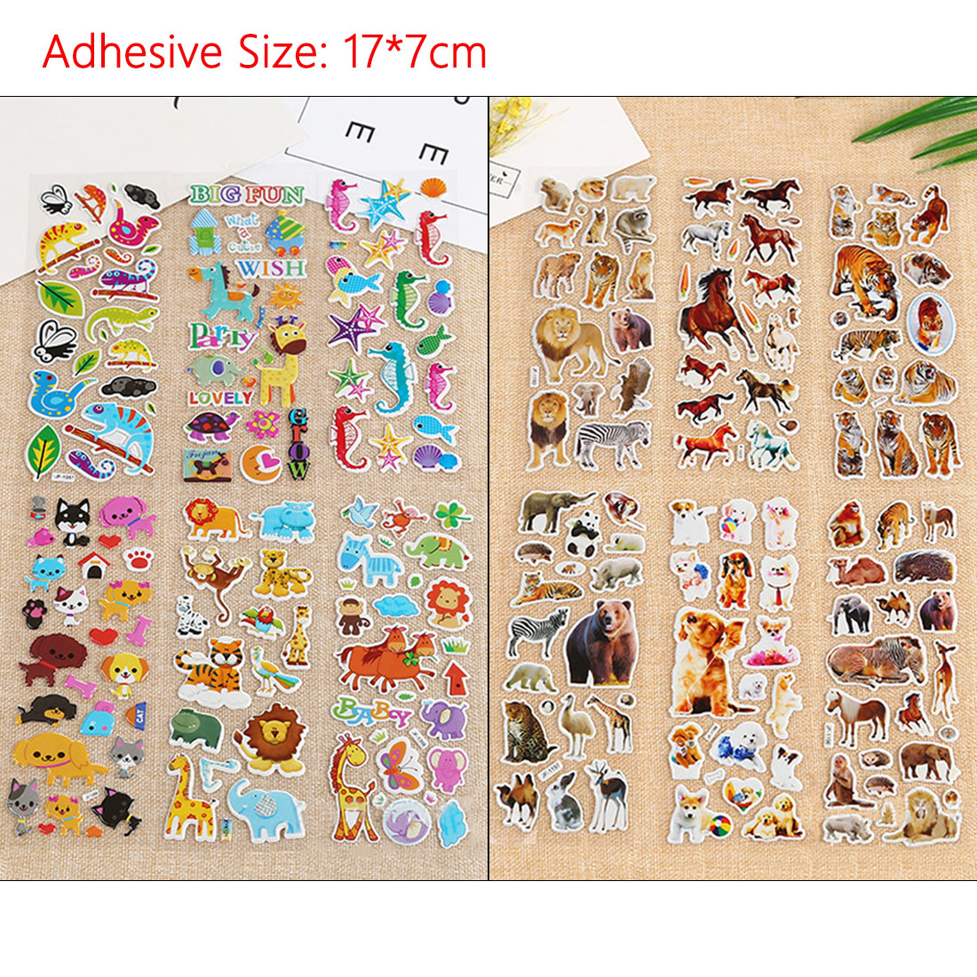10 Sheets Pets Dogs Cats Animals Scrapbooking Kawaii Emoji Reward Kids Children Toys Bubble Puffy Stickers Factory Direct Sales in Stickers from Toys Hobbies