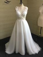 Solovedress Elegante Blanco Marfil Apliques Cuello En V Una Línea de Vestidos de Novia de Hendidura Gasa Backless de Playa vestido de boda nupcial SL-W339
