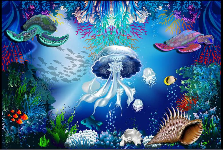 3d floor mural wallpape Jellyfish turtles tile flooring bathroom 3d stereoscopic wallpaper for walls floor jellyfish jellyfish spilt milk deluxe edition 2 cd