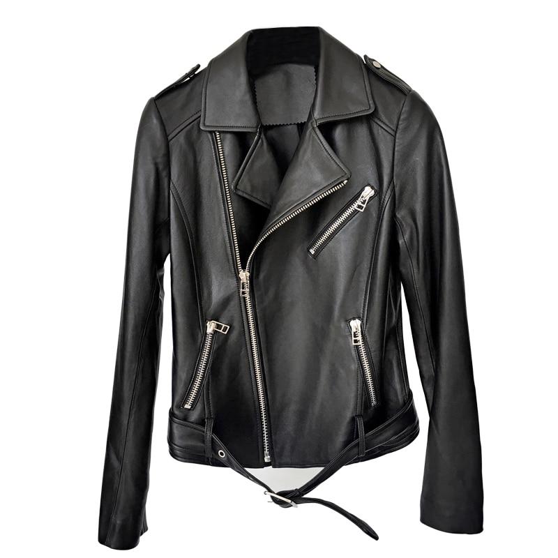 Manteaux Mouton Moto Peau Véritable Hsw302 Veste Black De Gours Punk Classique Femmes Mode Vestes Style En Court Cuir Printemps Noir q1wxnvOT7w