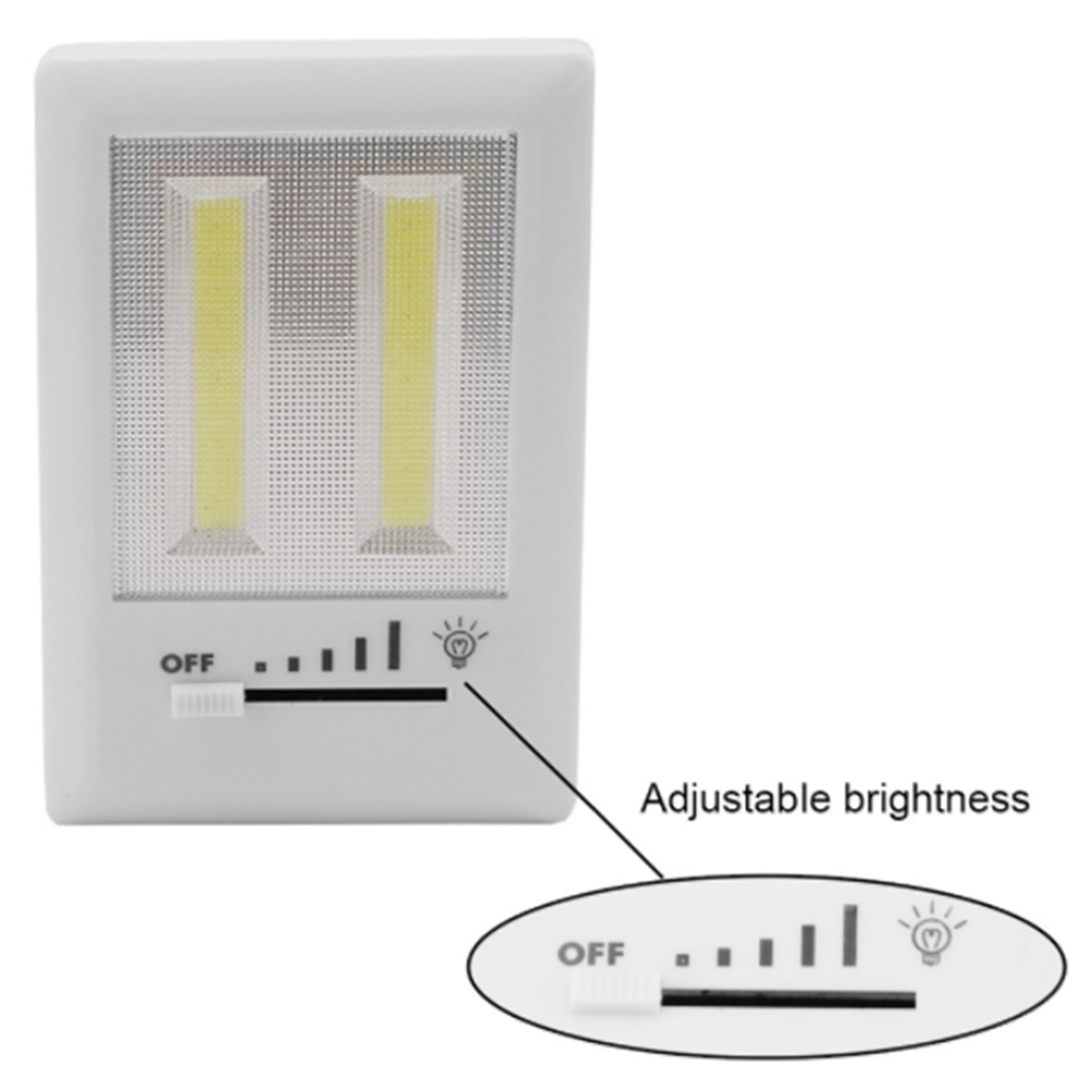 Dual High Light COB Slide Switch Home Wall Kids Room Bathroom Garage Cabinet Night Light Powered by 3 AAA Batteries