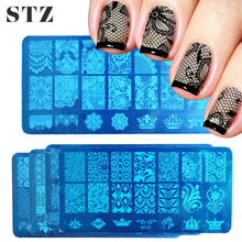 STZ 1pcs Nail Art Stamping Plate Template Lace Flower Leaf Butterfly Stencils Stamp for Nails Polish Mold Manicure Tools BC01-20(China)
