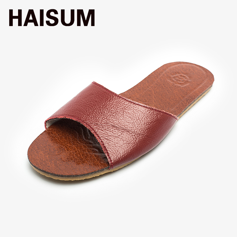 2017 Ladies  Summer  Leather Slippers Haisum Outdoor Open Toes Shoes Slip On House Beach Sandals 8805 beach house