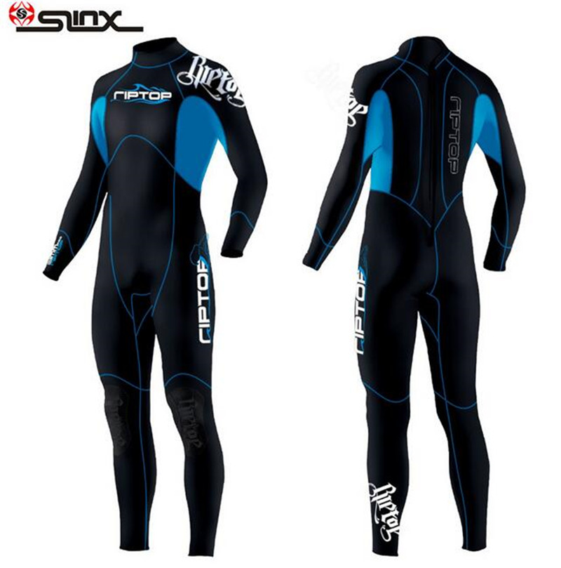 SLINX 3mm Neoprene Long Sleeve Men Wetsuit Scuba Diving Wet Suit Winter Swimming Surfing Full Bodysuit Swimwear Diving Equipment