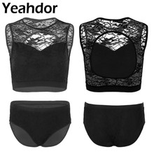 2 Pcs Womens Pole Dance Activewear Lace Suits Mouwen Terug Hollow Out Crop Tops met Hot Shorts Ondergoed voor Pole actieve(China)