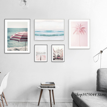 Seascape Photo Canvas Painting Wall Pictures For Living Room Poster Nordic Pink Bus Posters And Prints Unframed