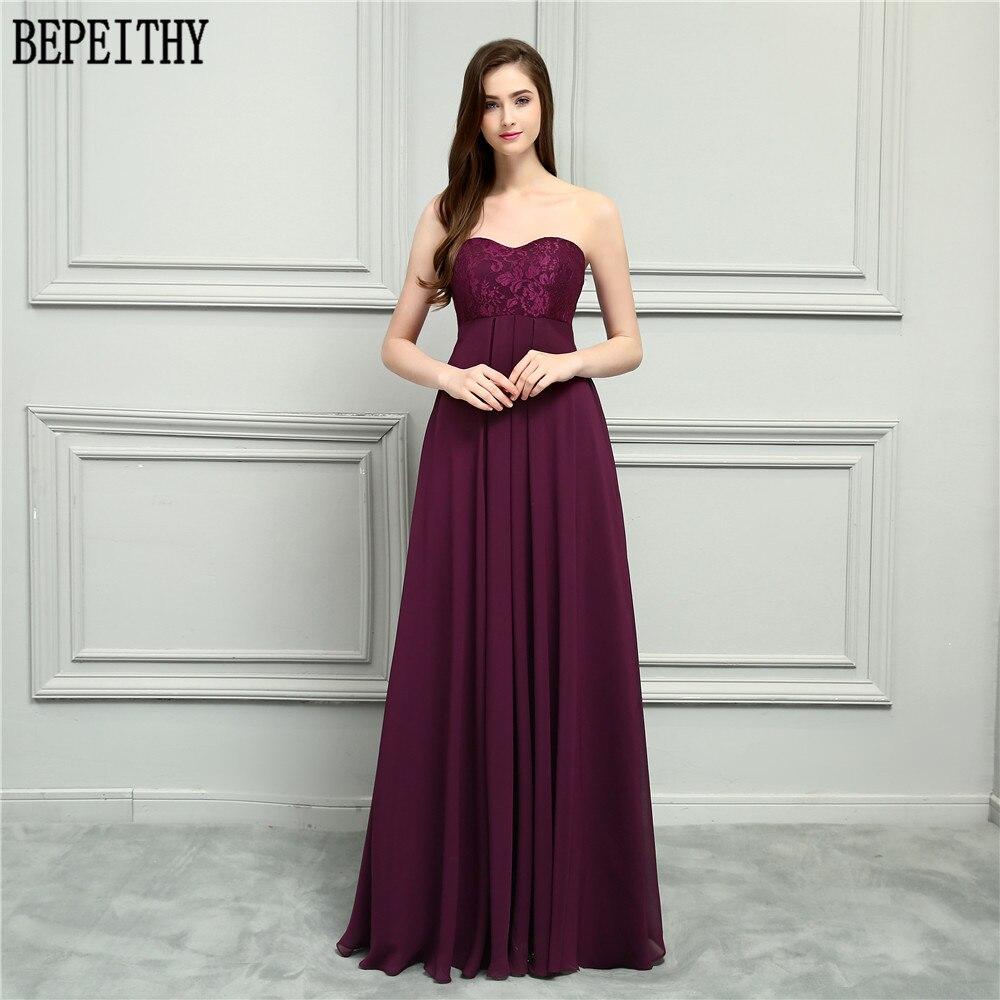 BEPEITHY 2019 nouveauté robe De Festa Longo chérie bordeaux mousseline De soie a-ligne robes De bal longues robes De demoiselle d'honneur en dentelle