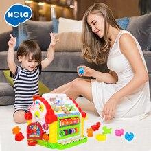 HOLA 739, Многофункциональные Музыкальные игрушки, детский Забавный домик, музыкальные электронные геометрические блоки, сортировка, Обучающие Развивающие игрушки, подарки