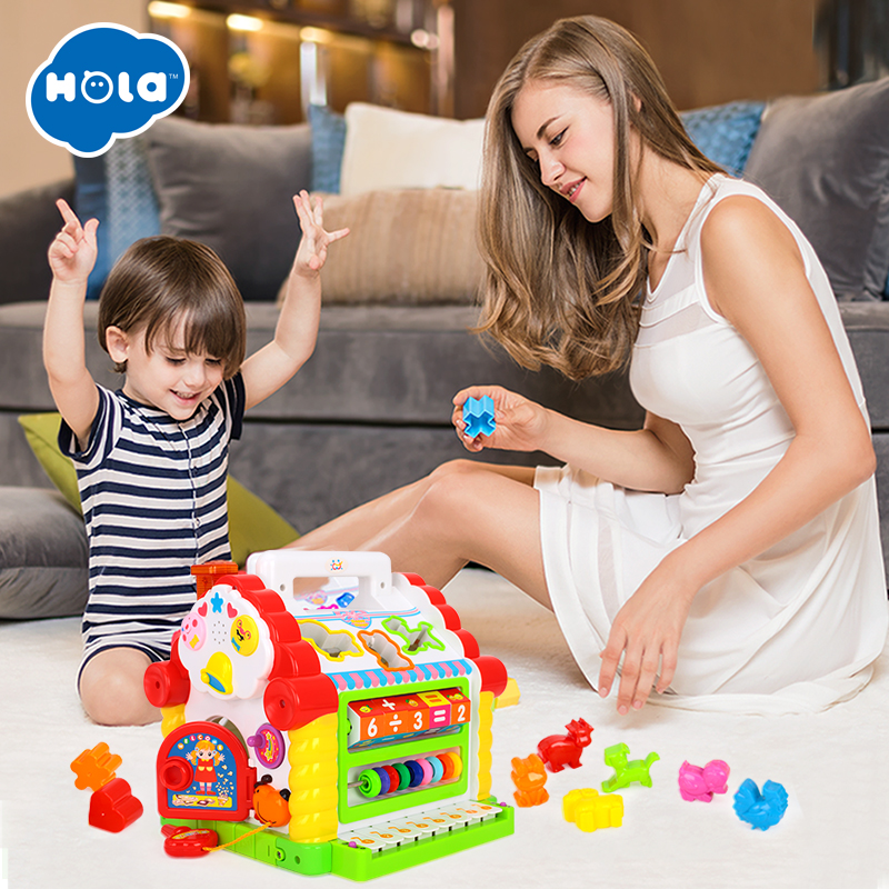 HOLA 739 Baby Toys for Toddlers 13-24 months Multifunctional Musical Activity Play Center House with Music/Light/Block for Kids