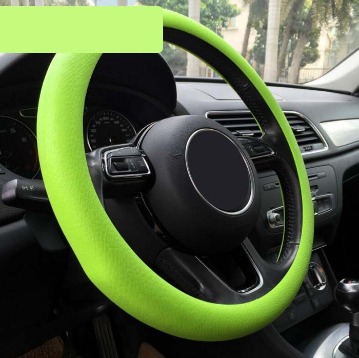 32-36/36/38cmcm Universal Car Steering Wheel Cover decoration antislip breathable fashion silicone elastic candy color Wh ...