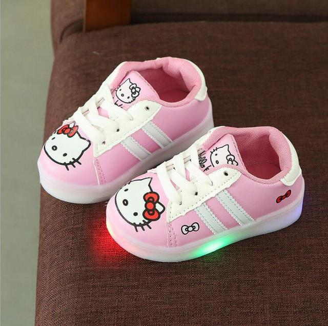 Spring/autumn Lace up LED Lighted Child Sneakers Cute Tennis Breathable Baby Girls Boys Shoes Lovely Kids Toddlers