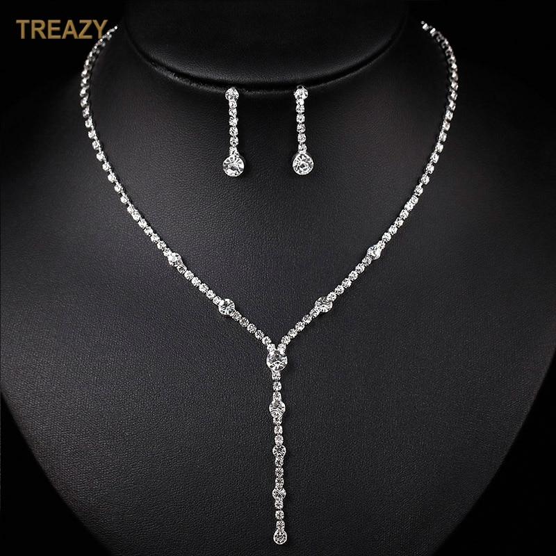 Simple Silver Color Rhinestone Crystal Long Drop Necklace Earrings