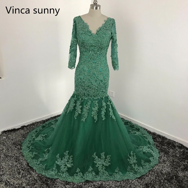 cf5c01064b6 vinca sunny Elegant Arabic Evening Dresses 2017 Long Sleevesgreen V Neck  Applique Lace Prom Gowns Robe De Soiree custom made