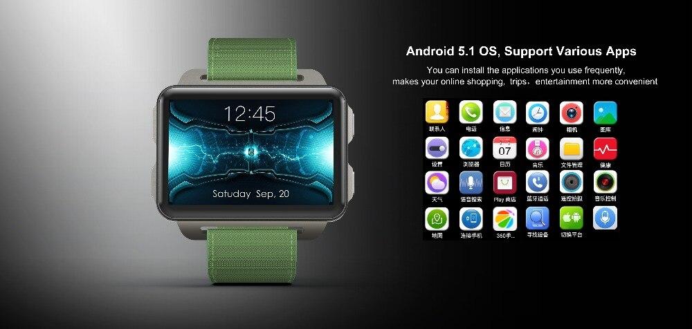 Torntisc DM99 Android Smart Watch Phone 1GB 16GB Big Screen 1200 Mah Battery 130W Camera Support GPS WiFi Nano SIM card MP4 Take Video 3G Smartwatch (21)