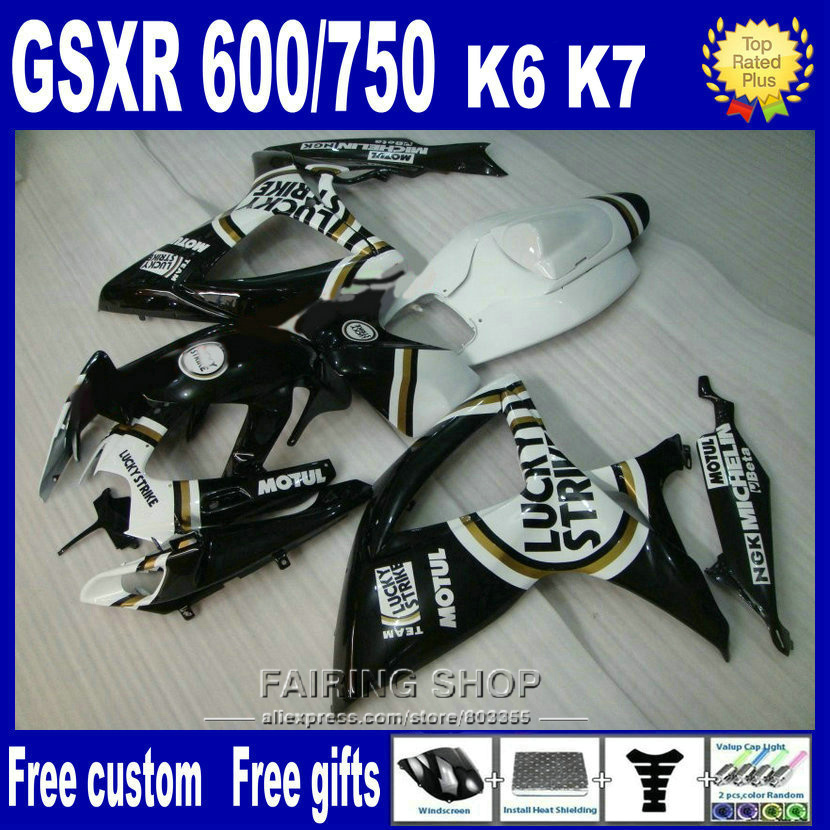 High quality lower price injection mold <font><b>fairings</b></font> for suzuki <font><b>gsxr</b></font> <font><b>600</b></font> 750 2006 2007 white black <font><b>fairing</b></font> <font><b>kit</b></font> gsxr750 06 <font><b>07</b></font> nv112 image