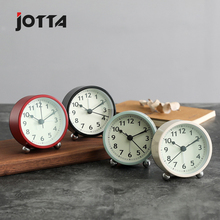 New household fashion creative alarm clock retro metal circular multi-functional simple bedside personality small mute
