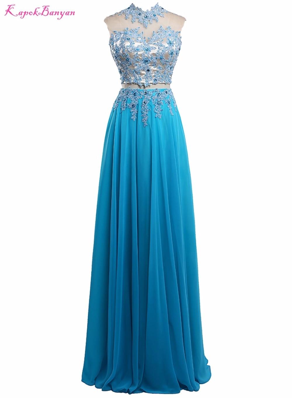 Bridalaffair Real Photo Two Piece Blue Chiffon Appliques   Prom     Dresses   2017 Sleeveless High Neck Long Party Gown Vestido de festa