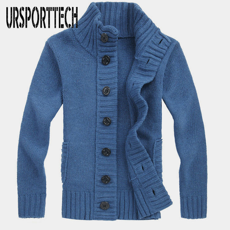 URSPORTTECH Men Sweater Cardigan Slim Fit Solid Color Youth Thickening Knitted Sweater Warm Autumn Korean Sweatercoat Knitwear