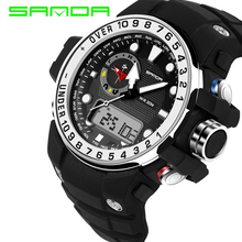 Sanda люди с большим набором цифровые S SHOCK часы золотые военные водонепроницаемые Стоп светодиодный спортивные наручные часы аналоговый дисплей