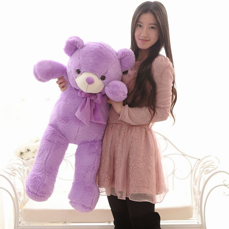 The lovely lavender teddy bear doll plush purple big teddy bear toy  birthday gift about 100cm the lovely lying teddy bear doll red stripe cloth plush bear toy gift toy about 120cm
