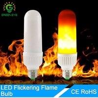 GreenEye E27 E26 LED Flame Bulbs Fire Corn Light 85 265V 2835 SMD Energy Saving Bulb